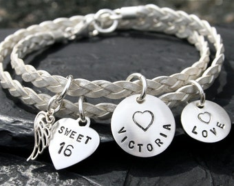 Sweet Sixteen - Angel Wing and Heart Sterling Silver Double Wrap Name/Word Bracelet