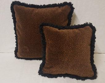 """12"""" x 12"""" Velvet Animal Print Pillow Cover with Black Fringe"""