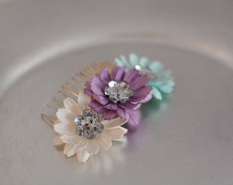 Handmade Paper Flower and Button Hair Comb