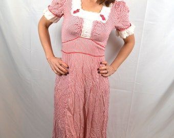 Vintage 70s Red Checked Foxy Lady Maxi Prairie 1970s Dress