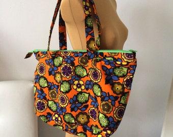 Upcycled Handbag Purse Orange Green  Blue Floral Flowers OOAK