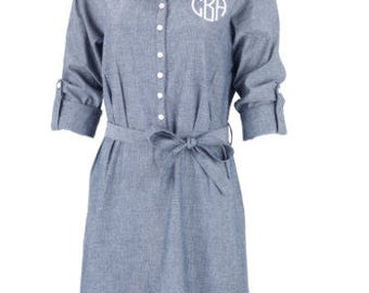 Monogrammed Dress. Monogrammed Chambray Dress. Chambray Dress. Denim Dress. Personalized Dress. Personalized Chambray Dress