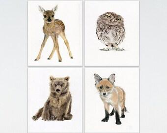 Nursery Prints, SET of 4 WOODLAND animals Nursery Prints baby Fox Owl Fawn Bear ideal for childrens bedroom