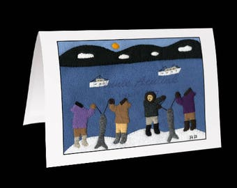 "Inuit Greeting Card #6 ""Fishing in the Summer"" by Annie Aculiak"