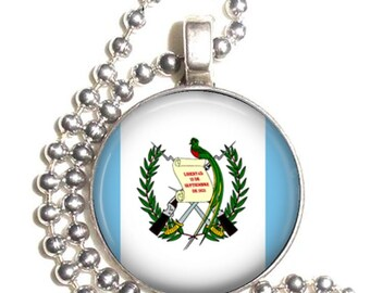 Guatemala Flag, Altered Art Pendant, Earrings and/or Keychain, Round Photo Silver and Resin Charm Jewelry, Flag Earrings, Flag Key Fob