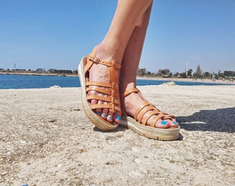 Summer Platform Sandals, Leather Sandals, Gladiator Sandals with cord decoration. 100% Calf Leather - Handmade in Greece.