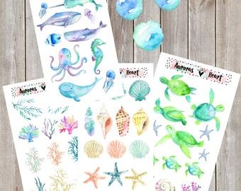 Ocean Sealife Full Set watercolor planner stickers