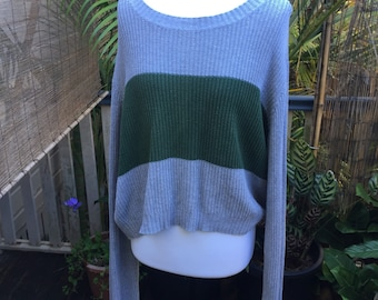 Slouchy sweater jumper grey with green cotton comfy small