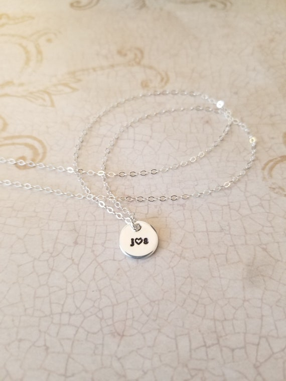 Tiny Sterling Silver Initial Necklace / Hand Stamped Initial Jewelry / Tiny Pendant .925 / Minimal Jewelry / Delicate Necklace / Petite