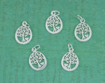 Sterling Silver - Tree of Life - With Heart - Silver Charm - 12x16mm - Sold Per Piece