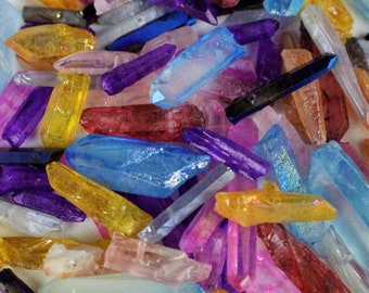 "1/2""-1 1/2"" Mixed Colors Beads quartz crystal points blue dichroic titanium beads electroplated gemstone"