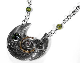 Steampunk Jewelry Necklace Vintage GUILLOCHE Silver Pocket Watch Olive SWAROVSKI Crystal, Olive Jasper Marble Beads STUNNING - by edmdesigns