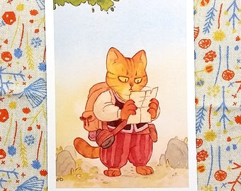 Cat Adventurer Small Print