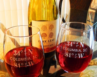 Your Own Coordinate Stemless Wine Glass, Set of 2, Coordinates, Personalized Wine Glass, Personalized Stemless Glass, Stemless Wine (CS704A)