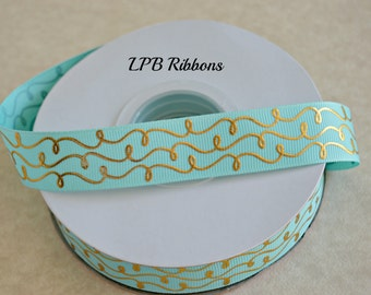 "7/8"" Aqua gold foil ribbon, aqua gold foil doodles, aqua grosgrain ribbon"