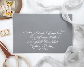 Custom Envelope Calligraphy; Wedding, Hand-written Address in Ford Style Font