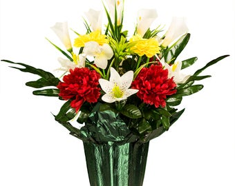 White roses and orchid potted silk flower arrangement red peony and yellow dahlias and calla lilies potted silk flower arrangement cemetery arrangement mightylinksfo