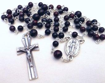 Men's Catholic Rosary made with brown mustang jasper beads, Gift for him, Catholic gift, Religious gift, Handmade rosary