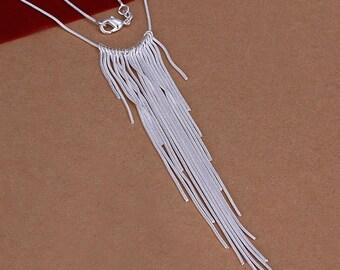 Lovely Sterling Silver Bib Necklace ~ 925 Sterling Silver Fringe Necklace ~ 925 Sterling Silver Statement Necklace ~  Minimalist Necklace