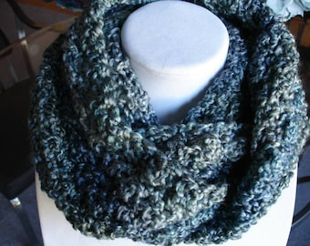 Green/Blue-Green Cowl Scarf, Infinity Scarf, Crocheted Scarf, Winter Scarf