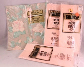 Lot of Vintage New in Packages of Two Tone Pink Crepe Paper and Pink Roses Gift Wrap