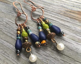 Vintage findings with multistone dangle earrings dream catcher