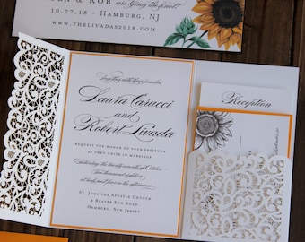 Laser Cut Lace Wedding Invitation - Ivory Lace Folder w pocket - Sunflowers, Citrine Yellow Accents - Fully Customizable in over 80 colors