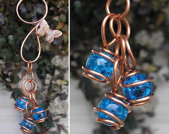 Dragonfly Butterfly Glass & Copper Garden Art Suncatcher Yard/Lawn/Outdoor Decor