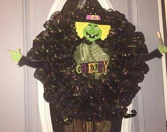 Creepy Witch mesh wreath