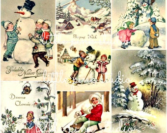 Snowmen are my Favorite, vintage Christmas collage sheet (printable, digital download)