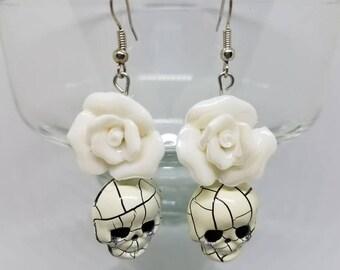 Flower and Skull Earrings