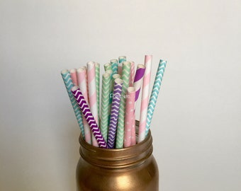 Unicorn paper straw  mix / Paper Straws/ Party Straws / party supplies/ mint, blue, pink, purple, lavendar