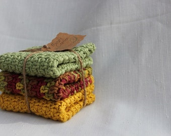 Crocheted Dishcloths, Washcloths, Spa Cloths, Set of 3 Cotton Crocheted Dishcloths, Fall Colors, Autumn Colors, Yellow, Gifts Under 20.00