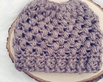 Messy Bun Beanie // Crochet Women's Puff Stitch Bun Hat Ponytail