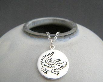 "sterling silver crocodile necklace. spirit animal charm. power animal pendant. croc totem talisman jewelry. nature soul meditation gift 5/8"""