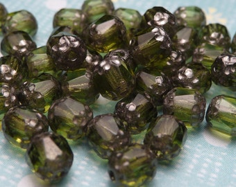 Forest Glass Cathedral Beads 5mm - 20pc SALE