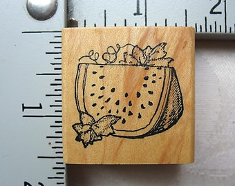 Delafield Slice of Watermelon DESTASH Rubber Stamp, Used Rubberstamp