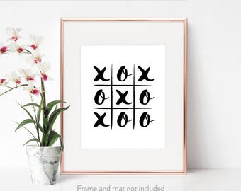 Wall decor / Word art prints / Gift for friend / 'Love Life Noughts and Crosses' / Typography print