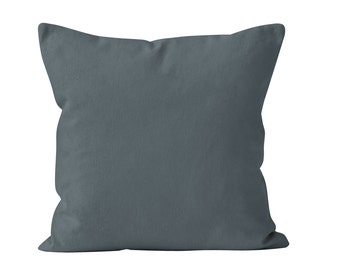 Blue Gray Pillow Cover, Solid Blue Gray Pillow Cover, Blue Gray Toss Pillow Cover, Blue Gray Cushion Cover, Throw Pillow Cover 18x18 _M
