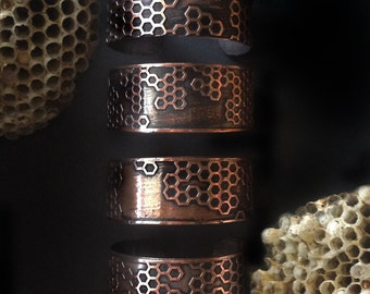 HoneyComb Cuff - Etched Copper Cuff - Unisex Jewelry- Mens Cuff -handcrafted in Austin, Tx - Beekeeper