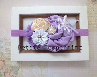 Lavender Baby Headband, Baby Bow Headband, Baby Hair Bow, Infant Headband, Toddler Headband, Girl Headband, Baby Head Band