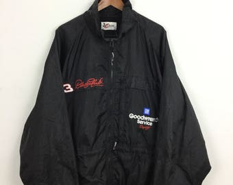Vintage Nascar Windbreaker Jacket Dale Earnhardt #3 Goodwrench Servis Racing