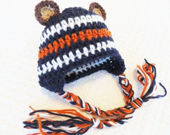 Beary Cute Hat Crocheted Chicago Bears Inspired Baby Beanie Photo Prop with Ear Flap Tassels  By Distinctly Daisy