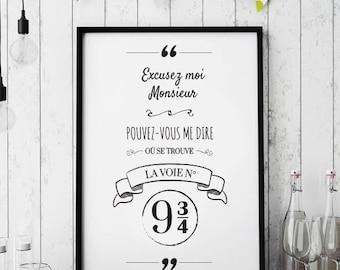 Platform 9 3/4 - Harry Potter quote + frame