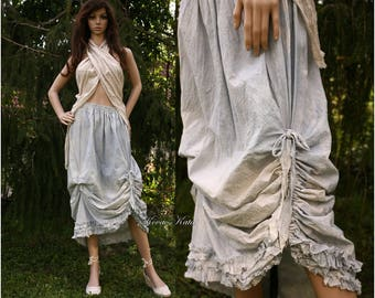 Irina-Sky - Bohemian Romantic Spotted Hand Dyed Linen-Cotton Skirt with Frills Lagenlook OOAK