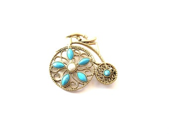 Vintage 1928 Company Gold Tone Metal Filigree & Faux Turquoise and Faux Pearl Pearl Penny-Farthing or Big Wheel Bicycle / Bike Brooch