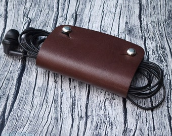 Genuine Leather Cord Holder // Leather Headphone Holder - Leather Cable Organizer - Cord Organizer - Headphone Case - Earbud Holder