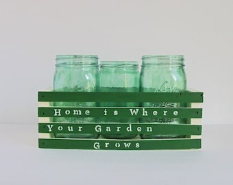Kitchen Herb Garden, Counter Garden, Kitchen Garden, Gardening Gift, Organic Herbs, Mason Jar Garden, Glass Jar Herbs, Gift for Her