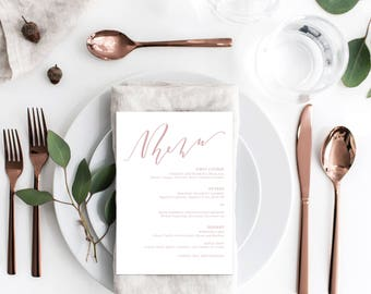 Custom Hand Lettered Wedding Menu Cards / Dinner Menu Cards - DEPOSIT