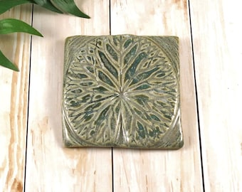 Wall Art - Waterlily - Ceramic Tile - Handmade Wall Hanging - Green Pottery - Decorative Decor - Home Decor Ideas - Kitchen - Bath - 384